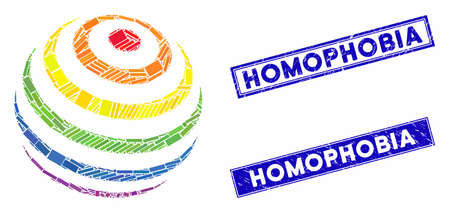 Mosaic LGBT color stripes abstract sphere icon and rectangle seals. Flat vector LGBT color stripes abstract sphere mosaic pictogram of random rotated rectangle items. Ilustração
