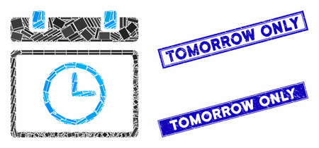 Mosaic date time icon and rectangle rubber prints. Flat vector date time mosaic icon of scattered rotated rectangle items. Blue caption rubber seals with scratched textures. Çizim