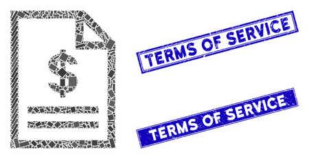 Mosaik-Rechnungsseitensymbol und rechteckige Stempel. Flaches Vektorrechnungsseitenmosaikpiktogramm von zufällig gedrehten rechteckigen Artikeln. Blaue Beschriftungsstempel mit Gummistruktur. Vektorgrafik
