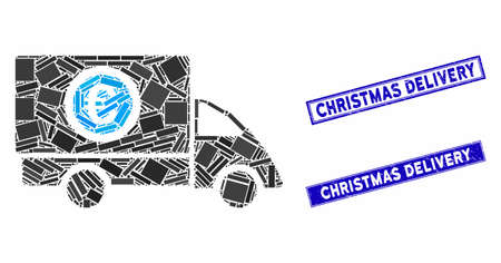 Mosaic Euro delivery icon and rectangle stamps. Flat vector Euro delivery mosaic icon of randomized rotated rectangle elements. Blue caption rubber stamps with dirty textures.