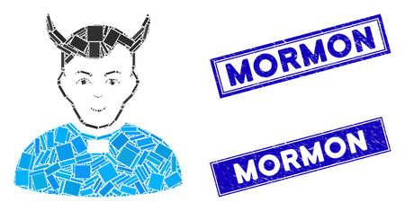 Mosaic devil priest pictogram and rectangular rubber prints. Flat vector devil priest mosaic pictogram of random rotated rectangular items. Blue caption seals with distress texture. Ilustracja