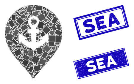 Mosaic sea port marker pictogram and rectangular seals. Flat vector sea port marker mosaic pictogram of scattered rotated rectangular elements. Blue caption seals with grunge surface.