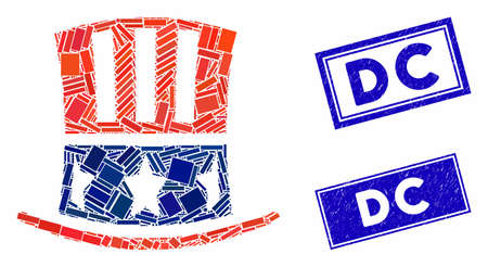 Mosaic Uncle Sam hat pictogram and rectangular seal stamps. Flat vector Uncle Sam hat mosaic pictogram of randomized rotated rectangular elements. Blue caption rubber stamps with rubber texture. Illusztráció