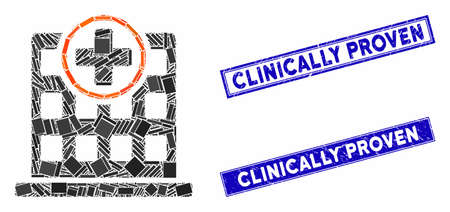 Mosaic clinic building icon and rectangular watermarks. Flat vector clinic building mosaic icon of scattered rotated rectangle elements. Blue caption watermarks with distress surface. Standard-Bild - 134154684