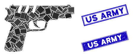 Mosaic pistol gun icon and rectangular seal stamps. Flat vector pistol gun mosaic icon of randomized rotated rectangular elements. Blue caption seal stamps with dirty textures.