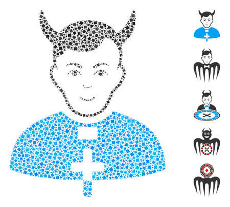 Devil priest icon mosaic of ragged items in variable sizes and color tints, based on devil priest icon. Vector rough items are organized into mosaic. Devil priest icons collage with dotted pattern. Çizim