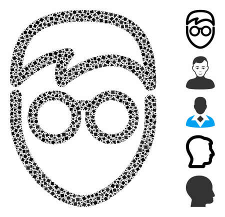 Student face icon composition of rough elements in different sizes and color tones, based on student face icon. Vector rough pieces are united into collage.
