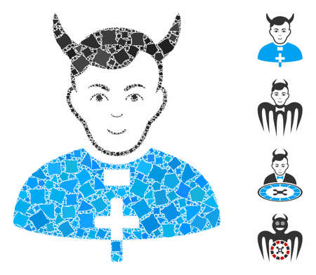 Devil priest icon mosaic of abrupt pieces in variable sizes and color hues, based on devil priest icon. Vector abrupt dots are composed into collage. Devil priest icons collage with dotted pattern.