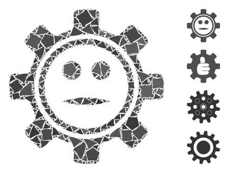 Gear neutral smiley icon composition of humpy items in different sizes and color tones, based on gear neutral smiley icon. Vector rugged items are grouped into composition.