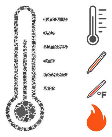 Temperature icon mosaic of unequal items in different sizes and color tones, based on temperature icon. Vector rough dots are grouped into mosaic. Temperature icons collage with dotted pattern.