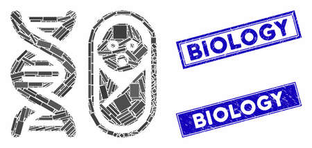 Mosaic baby genetics pictogram and rectangular seal stamps. Flat vector baby genetics mosaic pictogram of scattered rotated rectangular elements. Blue caption seal stamps with scratched surface.