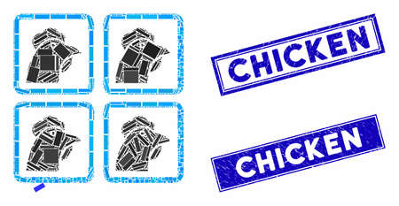 Mosaic chicken factory icon and rectangular stamps. Flat vector chicken factory mosaic icon of random rotated rectangular items. Blue caption stamps with grunge texture.