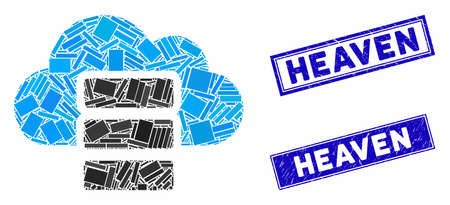 Mosaic cloud database icon and rectangular watermarks. Flat vector cloud database mosaic icon of scattered rotated rectangular elements. Blue caption watermarks with distress surface.