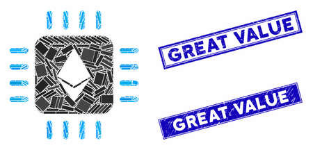 Mosaic Ethereum processor chip pictogram and rectangle watermarks. Flat vector Ethereum processor chip mosaic pictogram of random rotated rectangle elements. Blue caption seals with scratched surface.