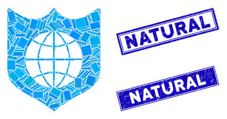 Mosaic global shield icon and rectangle seal stamps. Flat vector global shield mosaic icon of scattered rotated rectangle items. Blue caption seal stamps with grunged texture. Imagens - 134223983