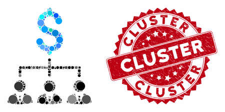 Mosaic banker links and distressed stamp seal with Cluster caption. Mosaic vector is composed with banker links icon and with scattered circle spots. Cluster stamp seal uses red color,