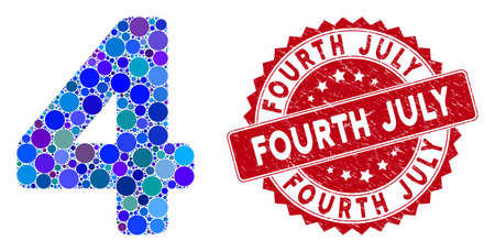 Mosaic 4 digit and corroded stamp watermark with Fourth July phrase. Mosaic vector is designed with 4 digit icon and with random spheric elements. Fourth July stamp seal uses red color, Ilustrace