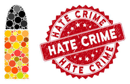 Mosaic ammo bullet and distressed stamp seal with Hate Crime text. Mosaic vector is composed from ammo bullet icon and with scattered spheric elements. Hate Crime stamp seal uses red color,