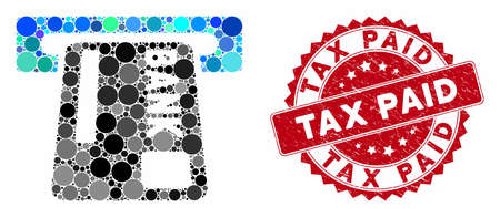 Mosaic ATM terminal and rubber stamp seal with Tax Paid phrase. Mosaic vector is formed with ATM terminal icon and with randomized circle spots. Tax Paid stamp uses red color, and grunged surface.