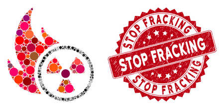 Mosaic atomic fire and rubber stamp seal with Stop Fracking text. Mosaic vector is created from atomic fire icon and with randomized circle elements. Stop Fracking stamp seal uses red color,