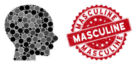 Mosaic boy profile and corroded stamp seal with Masculine text. Mosaic vector is designed with boy profile icon and with randomized spheric items. Masculine stamp seal uses red color, Vectores