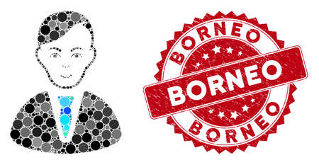 Mosaic businessman and distressed stamp watermark with Borneo text. Mosaic vector is designed with businessman icon and with scattered circle items. Borneo stamp seal uses red color, Ilustração