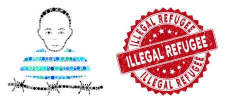 Mosaic camp prisoner and rubber stamp seal with Illegal Refugee text. Mosaic vector is created with camp prisoner icon and with random spheric elements. Illegal Refugee stamp seal uses red color, Illustration