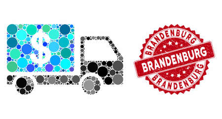 Collage cash delivery car and rubber stamp seal with Brandenburg caption. Mosaic vector is created with cash delivery car icon and with random round elements. Brandenburg stamp seal uses red color,