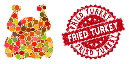 Mosaic chicken and distressed stamp watermark with Fried Turkey caption. Mosaic vector is created with chicken icon and with random circle spots. Fried Turkey stamp seal uses red color, Illustration