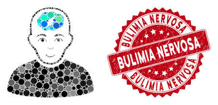Mosaic clever boy and rubber stamp watermark with Bulimia Nervosa phrase. Mosaic vector is designed with clever boy icon and with randomized round spots. Bulimia Nervosa stamp uses red color, Illustration