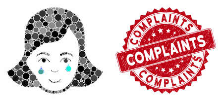 Mosaic crying woman face and distressed stamp seal with Complaints caption. Mosaic vector is designed with crying woman face icon and with scattered round items. Complaints seal uses red color,