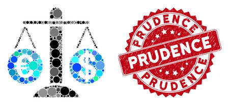 Mosaic currency compare scales and rubber stamp seal with Prudence caption. Mosaic vector is formed with currency compare scales icon and with randomized circle elements.