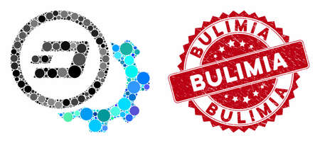 Mosaic Dash configuration gear and rubber stamp seal with Bulimia text. Mosaic vector is formed with Dash configuration gear icon and with scattered round spots. Bulimia stamp seal uses red color,