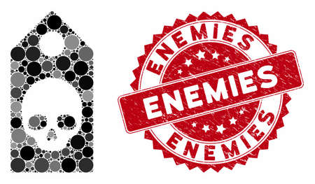 Collage death coupon and rubber stamp seal with Enemies phrase. Mosaic vector is created with death coupon icon and with scattered circle spots. Enemies stamp seal uses red color, and rubber texture.