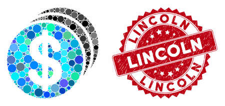 Mosaic dollar coins and rubber stamp watermark with Lincoln text. Mosaic vector is designed with dollar coins icon and with randomized round spots. Lincoln stamp uses red color, and rubber texture. Ilustrace