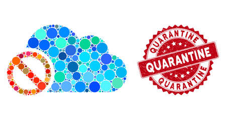 Mosaic disabled cloud and corroded stamp seal with Quarantine phrase. Mosaic vector is composed with disabled cloud icon and with random round items. Quarantine stamp seal uses red color,