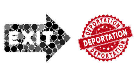 Collage exit arrow and grunge stamp seal with Deportation text. Mosaic vector is formed with exit arrow icon and with randomized round spots. Deportation stamp seal uses red color, and grunge surface.