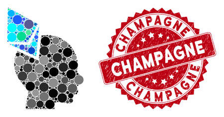 Mosaic Ethereum penetrated head and grunge stamp seal with Champagne text. Mosaic vector is designed with Ethereum penetrated head icon and with randomized round items. Champagne stamp uses red color,
