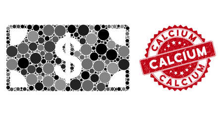 Mosaic dollar banknote and corroded stamp seal with Calcium text. Mosaic vector is composed with dollar banknote icon and with scattered spheric spots. Calcium stamp seal uses red color, 向量圖像
