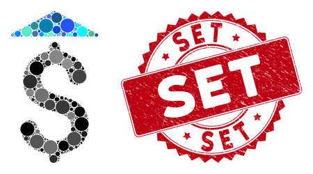 Mosaic dollar up and grunge stamp seal with Set text. Mosaic vector is formed with dollar up icon and with scattered round items. Set stamp seal uses red color, and rubber texture.