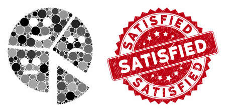 Mosaic emotion pie chart and rubber stamp seal with Satisfied text. Mosaic vector is designed with emotion pie chart icon and with randomized spheric spots. Satisfied stamp seal uses red color,