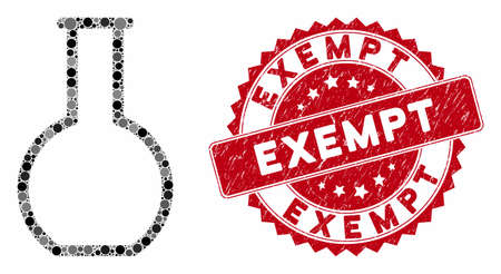Mosaic empty retort and corroded stamp seal with Exempt phrase. Mosaic vector is created from empty retort icon and with randomized circle elements. Exempt stamp seal uses red color,