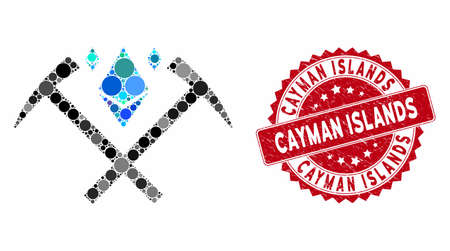 Mosaic Ethereum crystal mining hammers and grunge stamp seal with Cayman Islands phrase. Mosaic vector is composed from Ethereum crystal mining hammers icon and with scattered spheric elements.