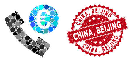 Collage Euro phone order and rubber stamp seal with China, Beijing phrase. Mosaic vector is designed with Euro phone order icon and with randomized round elements. China,