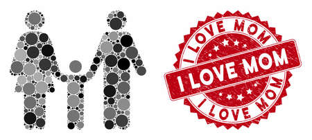 Mosaic family child and grunge stamp watermark with I Love Mom caption. Mosaic vector is formed with family child icon and with scattered spheric elements. I Love Mom stamp uses red color,