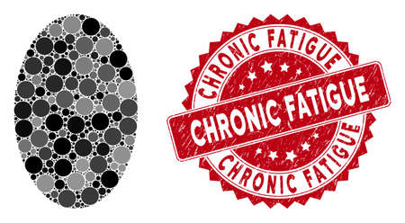 Collage filled ellipse and rubber stamp seal with Chronic Fatigue text. Mosaic vector is created with filled ellipse icon and with scattered round items. Chronic Fatigue stamp seal uses red color, Stockfoto - 134637501