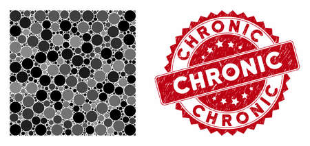 Mosaic filled square and rubber stamp watermark with Chronic phrase. Mosaic vector is composed with filled square icon and with scattered spheric elements. Chronic stamp seal uses red color, Stockfoto - 134637502