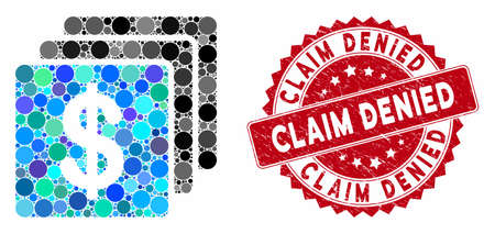 Mosaic finances and grunge stamp watermark with Claim Denied phrase. Mosaic vector is created with finances icon and with scattered circle items. Claim Denied stamp uses red color, and rubber design. Stockfoto - 134637504