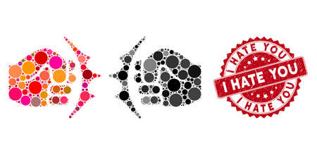 Mosaic fist fight and corroded stamp watermark with I Hate You caption. Mosaic vector is designed with fist fight icon and with scattered spheric spots. I Hate You stamp uses red color,