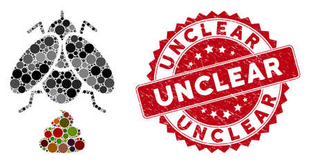 Mosaic fly shit and distressed stamp seal with Unclear phrase. Mosaic vector is designed with fly shit icon and with random circle elements. Unclear seal uses red color, and dirty texture.